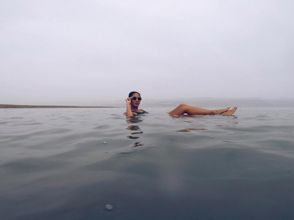 Tia Lacson In the Dead Sea wearing heysxy swimsuit